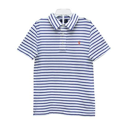 Ralph Lauren 男童經典刺繡小馬條紋短袖POLO衫-藍/白(6歲)