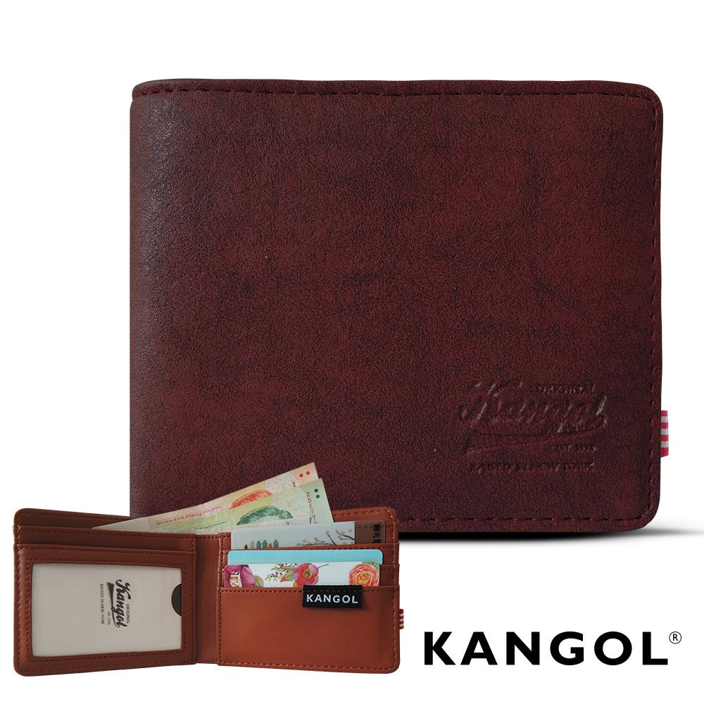 KANGOL 韓式潮流 多夾層橫式短皮夾+鑰匙圈禮盒-皮紋紅