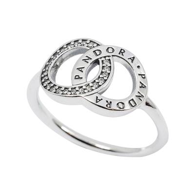 Pandora 潘朵拉 PANDORA標誌雙環鑲鋯 純銀戒指