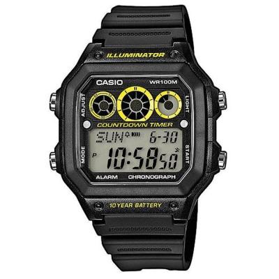 CASIO 10年電力亮眼設計方形數位錶(AE-1300WH-1A)-黑框x黃錶圈/42m