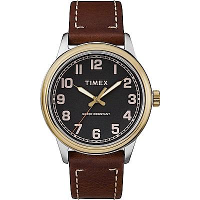 TIMEX 天美時 風格系列 極簡手錶-黑x咖啡色/40mm