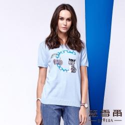 麥雪爾 圓領貓咪純棉針織上衣-水藍