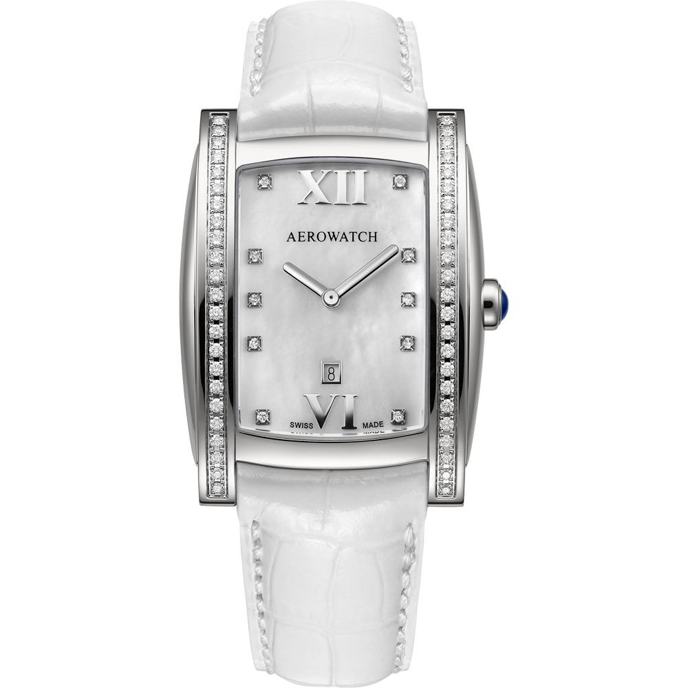 AEROWATCH Collection 女伶真鑽腕錶-珍珠貝x白/32mm