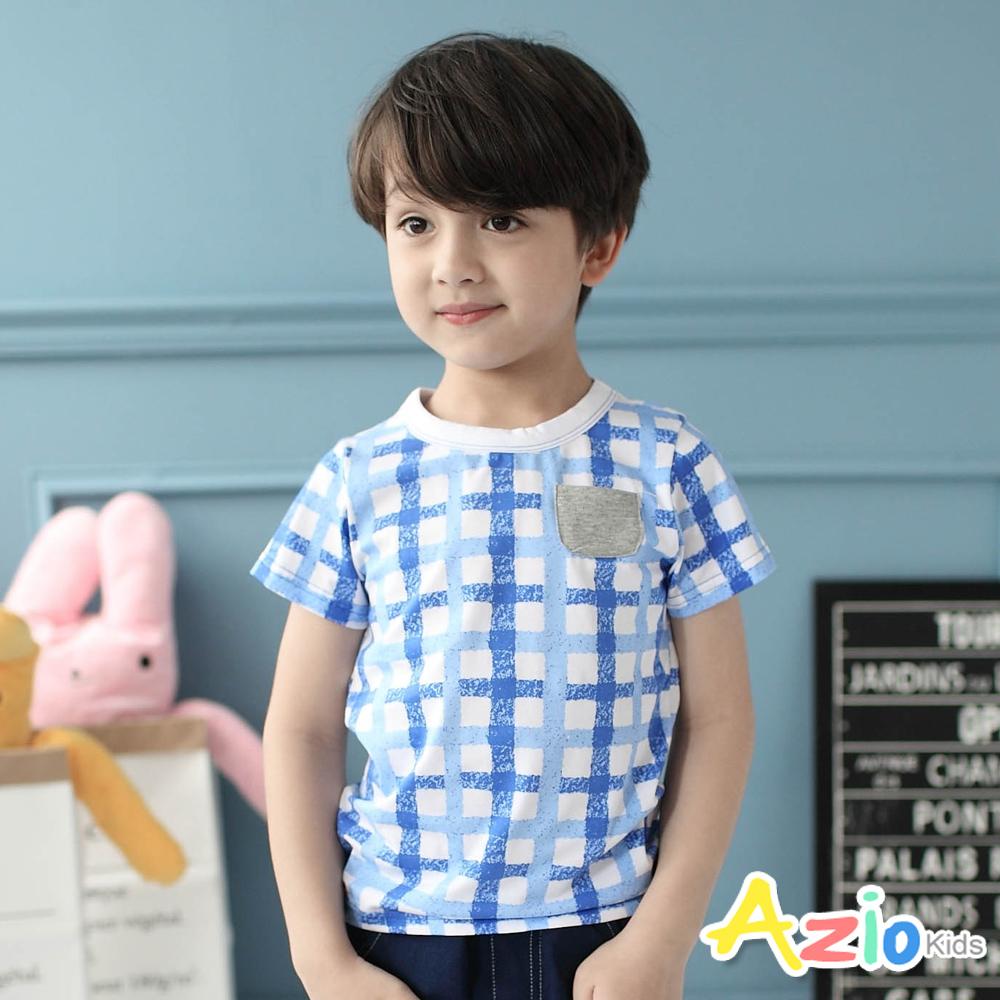 Azio Kids-上衣 拓印感方格單口袋圓領棉T(藍)