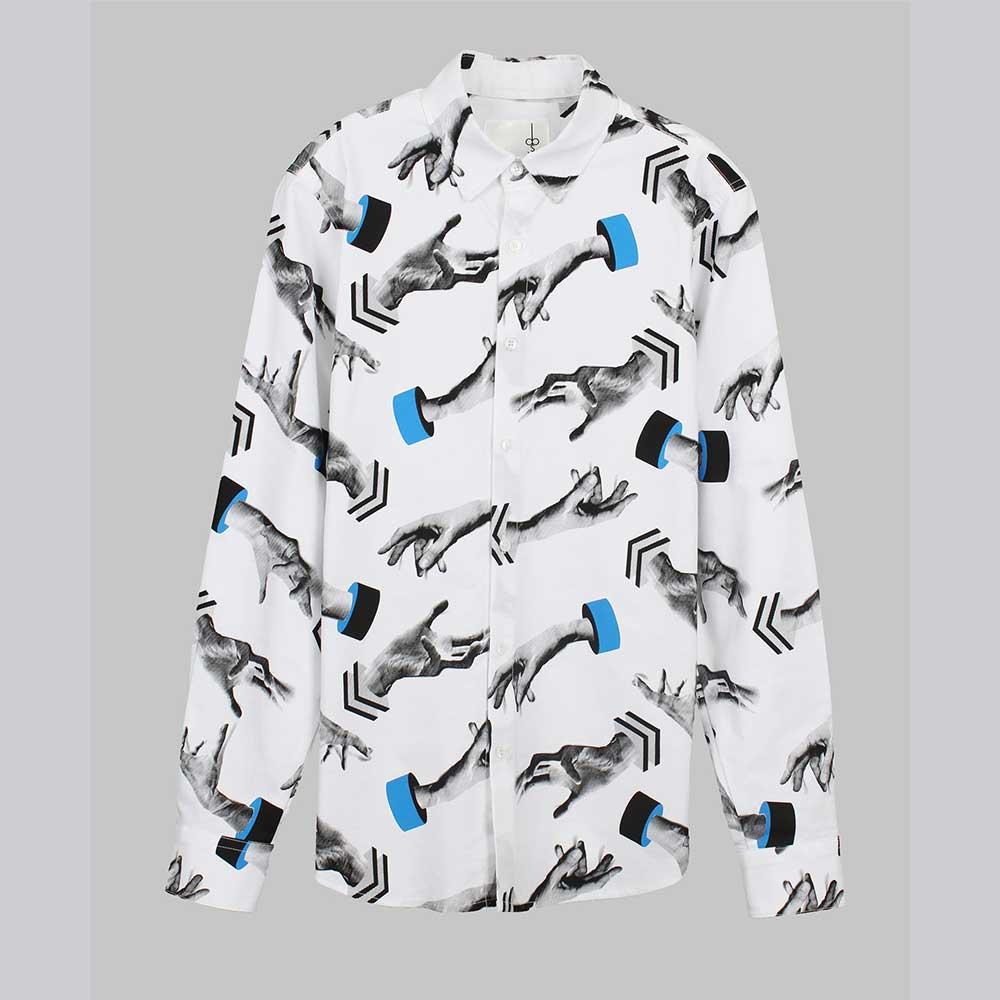 摩達客 韓國進口設計品牌DBSW 手掉了 白色時尚純棉修身長袖襯衫