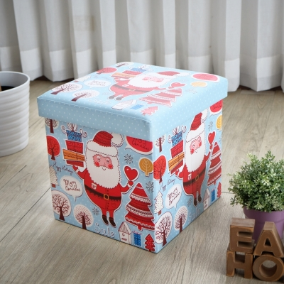 EASY HOME-耐重可摺疊收納椅凳-歡樂聖誕 (38x38x38cm)