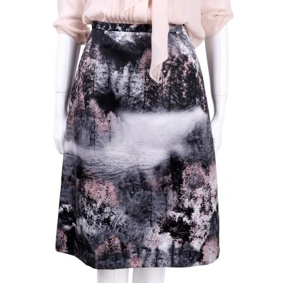 Max Mara 粉黑色樹林墨畫及膝裙
