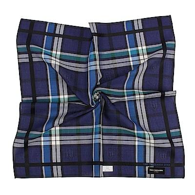 TRUSSARDI 交錯格紋純棉帕巾-藍綠/深紫