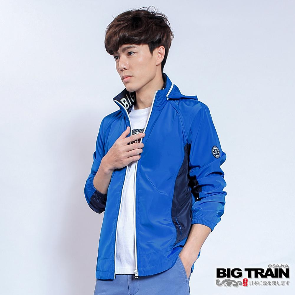 BIG TRAIN 男款配布防風外套-男-藍色