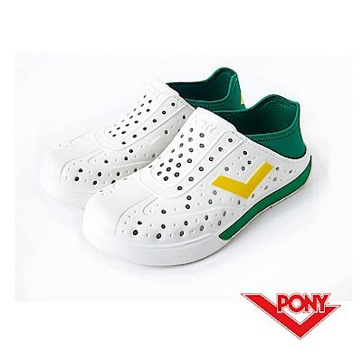 【PONY】ENJOY 系列-輕量透氣洞洞鞋-中性-白/綠(巴西)