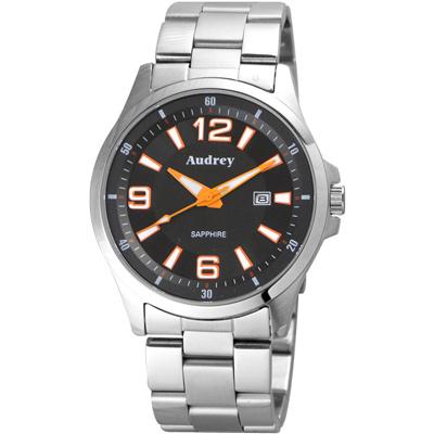 Audrey 歐德利 薄型設計紳士腕錶(AUM2593)-黑x橘指針/42mm