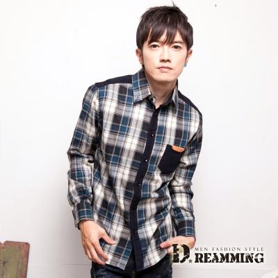 Dreamming 剪接直紋絨格子長袖襯衫-共二色