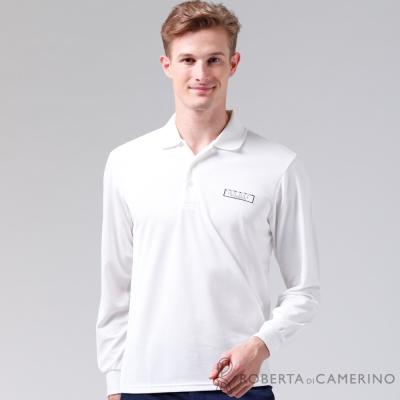 ROBERTA諾貝達-台灣製-吸汗速乾-長袖POLO棉衫-白色