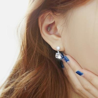梨花HaNA  韓國925銀天然珍珠上下方鑽女人香耳環精裝
