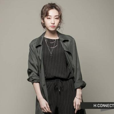 H-CONNECT-韓國品牌-女裝-雙排釦綁帶風衣外套-黑-快