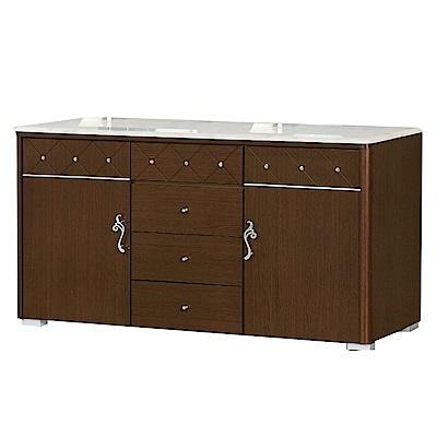 品家居 奧斯多5.1尺胡桃木紋石面餐櫃下座-152x46x87cm免組