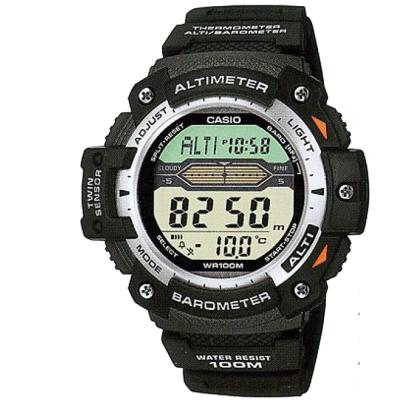 CASIO 登峰測高抗溫數位休閒錶(SGW-300H-1A)-膠帶款/49.2mm