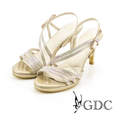 GDC-都會時尚水鑽寶石繞帶側蝴蝶高跟涼鞋-金色