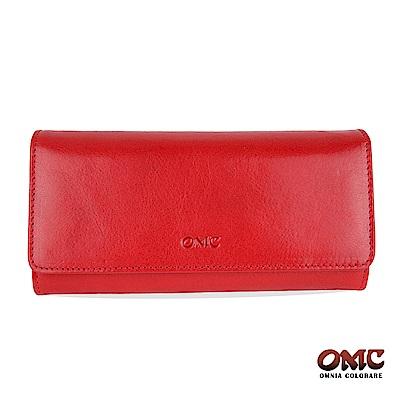 OMC 原皮系列-植鞣牛皮壓扣16卡透明窗三折雙隔層零錢長夾-紅色