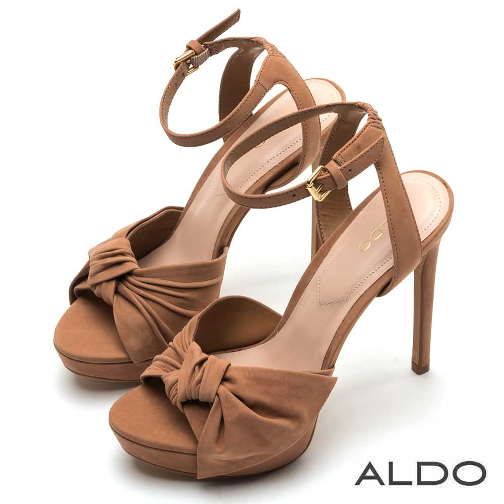 ALDO 原色真皮蝴蝶扭結金屬釦帶繫踝高跟涼鞋~都會褐棕