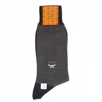 MCM 波浪紋刺繡LOGO紳士襪-黑色