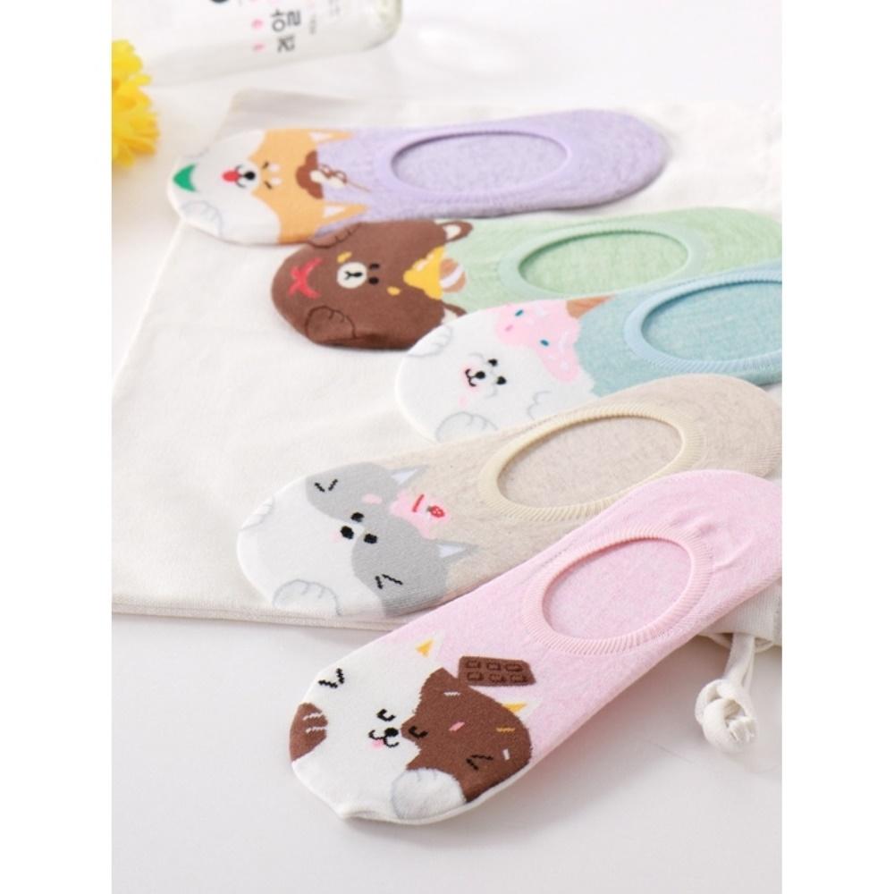韓國動物與甜點腳跟止滑隱形襪.5色(任3雙198)-OB大尺碼