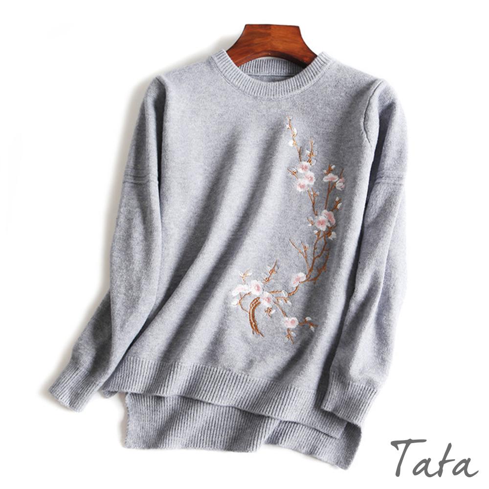 花朵刺繡開叉針織上衣共三色TATA