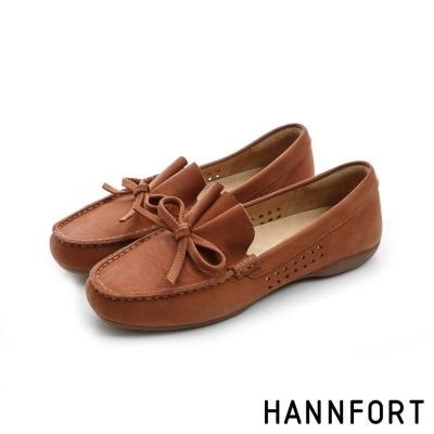 HANNFORT RIPPLE蝴蝶結典雅樂福鞋-女-可可棕