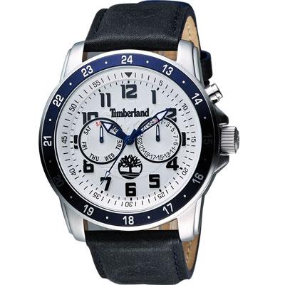 Timberland BELLAMY 都會日曆腕錶-銀x藍框/48mm