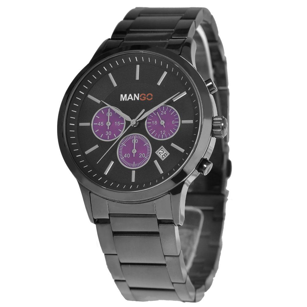 MANGO HOMME 非凡夢想三眼不鏽鋼時尚腕錶-黑x紫/42mm
