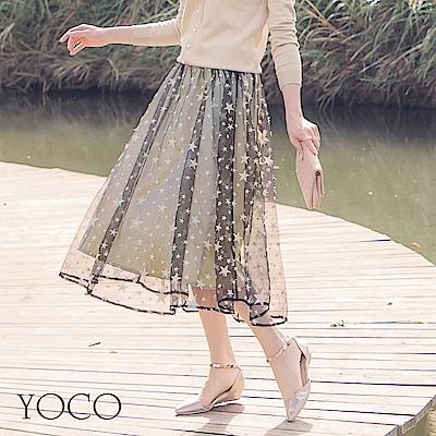 東京著衣-女神氣質星星刺繡透色仙女紗裙