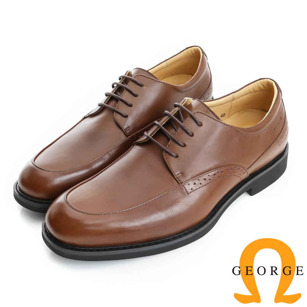 GEORGE 喬治-避震系列 經典素面圓楦紳士鞋皮鞋(男)-棕色