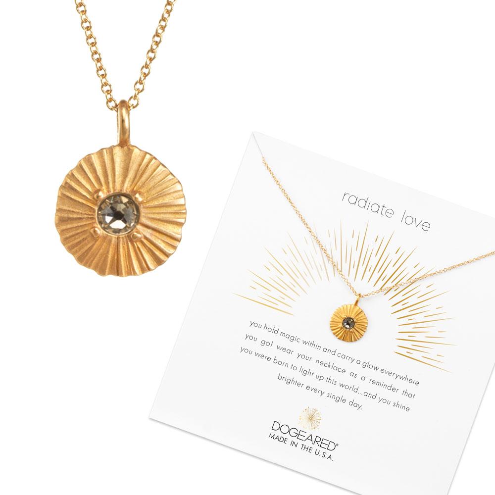 Dogeared Disc 透明水晶圓牌項鍊 光芒錢幣金項鍊 綻放愛的光芒