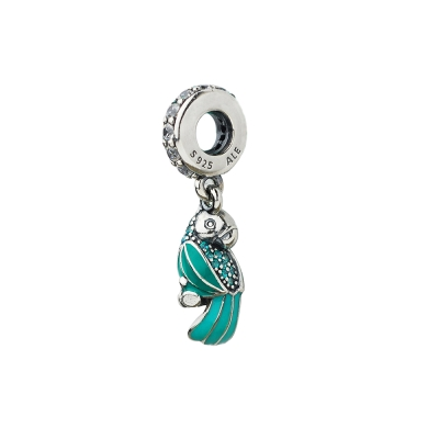 Pandora 潘朵拉 綠塘瓷熱帶鸚鵡鋯石垂飾