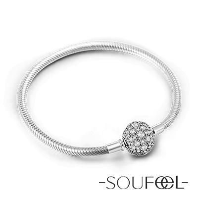 SOUFEEL索菲爾 925純銀珠飾  手鍊 花型水晶扣頭