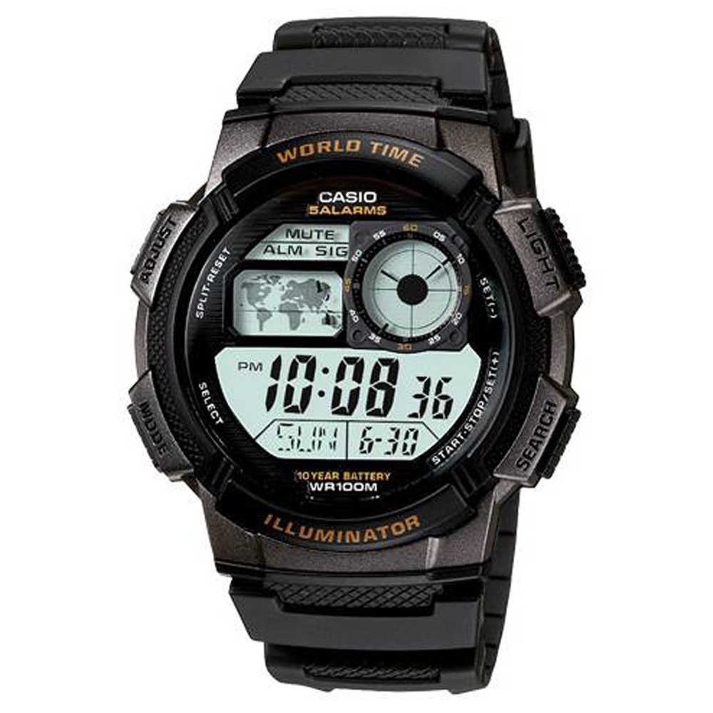 CASIO 世界之城電子數位膠帶錶(AE-1000W-1A)-黑框/43.7mm