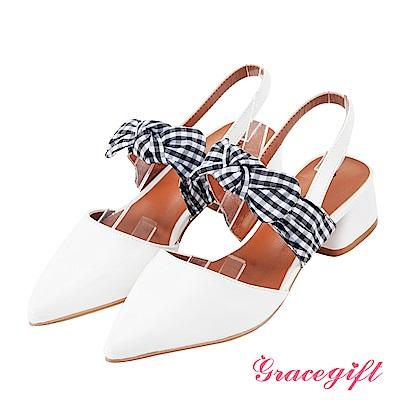 Grace gift-格紋綁結尖頭後條帶跟鞋 白