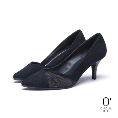 達芙妮x高圓圓 圓漾系列 高跟鞋-交叉拼接蕾絲中跟尖頭鞋-黑