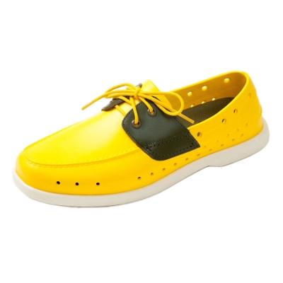(男/女)Ponic&Co美國加州環保防水洞洞綁帶帆船鞋-黃色