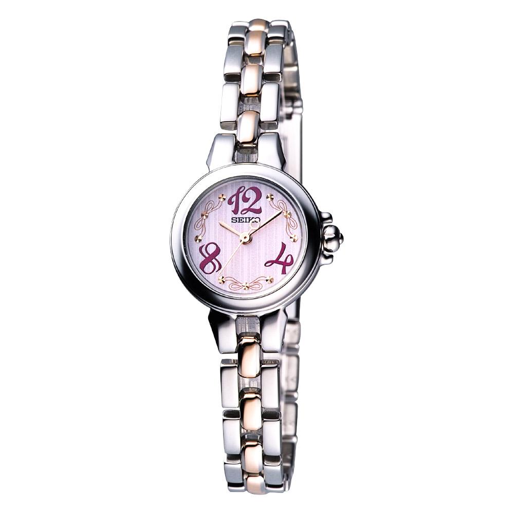 SEIKO 蝴蝶結女孩時尚迷你腕錶-半金