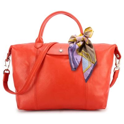 Longchamp Le Pliage Cuir小羊皮短把折疊中型水餃包-橙紅色(贈帕巾)