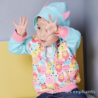 les enphants 玩樂FUN繽紛小怪獸毛圈布連帽外套 印圖布 1~2號