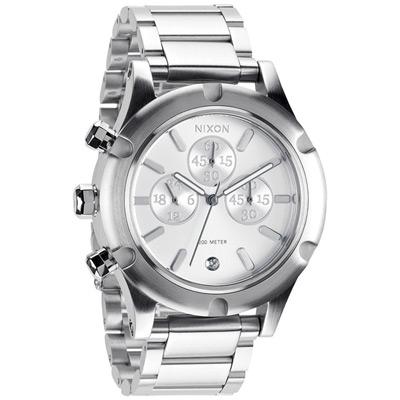 NIXON The CAMDEN CHRONO 耀星漫遊三眼時尚運動腕錶-銀/41mm