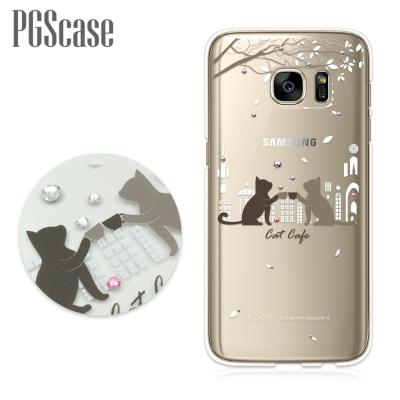 PGS Samsung Galaxy S7 奧地利彩鑽手機殼-午茶貓咪
