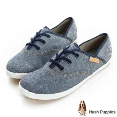 Hush Puppies 單寧風潮咖啡紗帆布鞋-灰藍