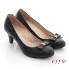 effie 職場推薦 真皮壓紋蝴蝶跟鞋 黑