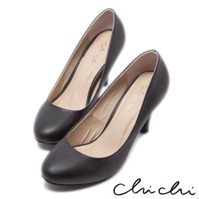 Chichi法式雅致-經典素面圓頭高跟鞋-黑色