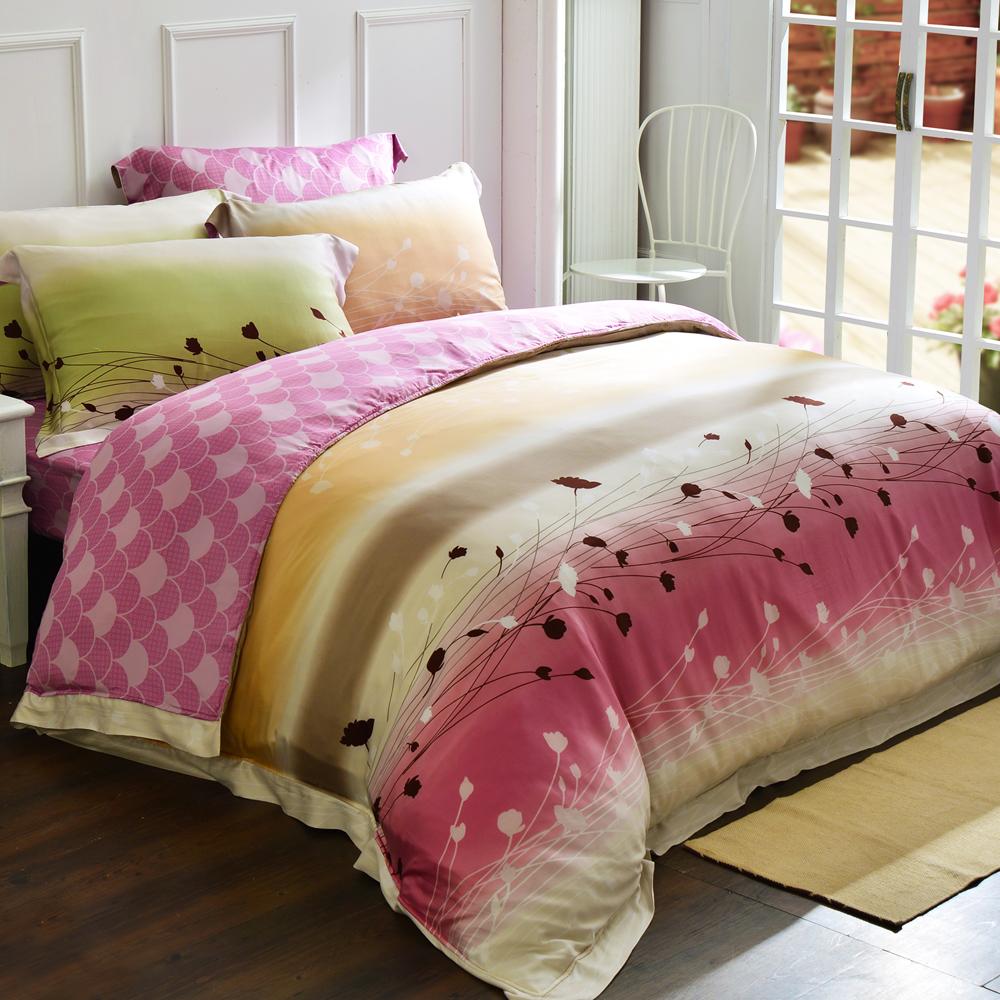 義大利La Belle 幸福愛戀 加大天絲四件式舖棉兩用被床包組