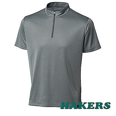 【HAKERS】男t半開襟抗UV排汗衫-淨灰-面條紋
