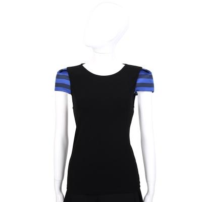 Alice+Olivia 黑色條紋拼接短袖上衣